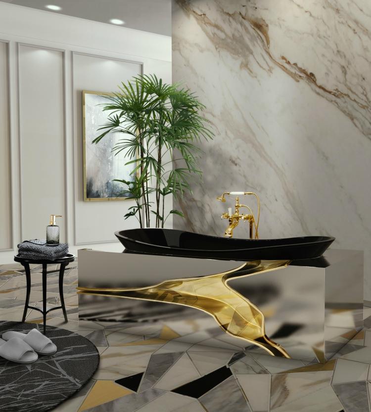Nowoczesne metaliczne wykończenie jest zdecydowanie na topie i warto sięgnąć po tego typu dodatki przy projektowaniu modnej łazienki. Fot. Maison Valentina
