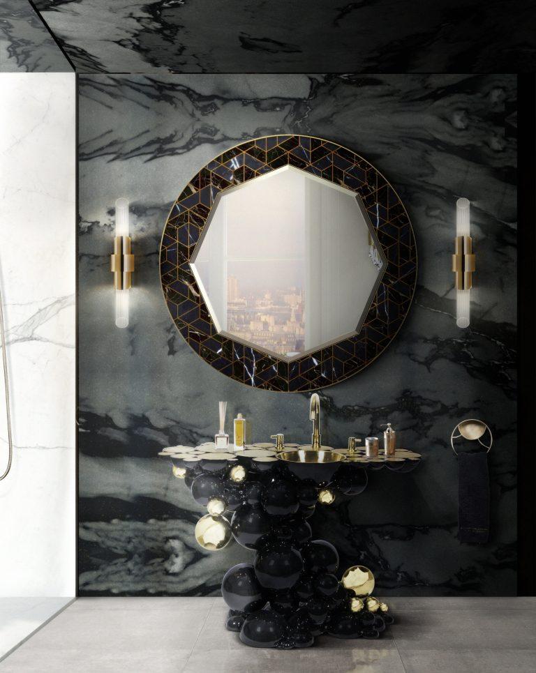 W przestrzeni łazienki już od tak dawna królują neutralne białe oraz jasne kolory, że postawienie na ciemne odcienie i dodatki ożywi i delikatnie stonowaną kolorystykę. Fot. Maison Valentina