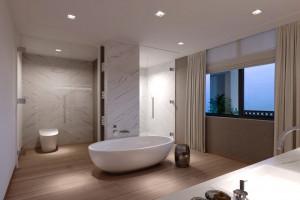 Jedwabny marmur we wnętrzach tropikalnego apartamentowca