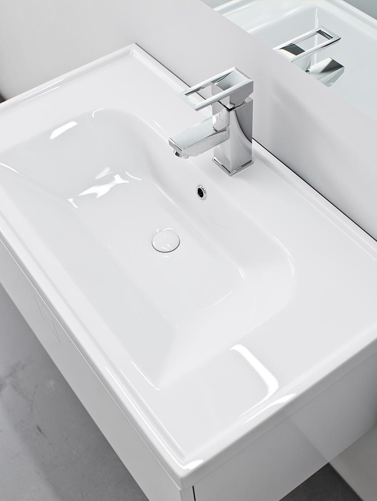 Kolekcja mebli łazienkowych NODO, umywalka FRAME. Fot. Defra