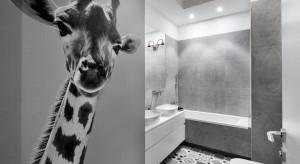 Szara łazienka dla dzieci: zobacz projekt z fototapetą