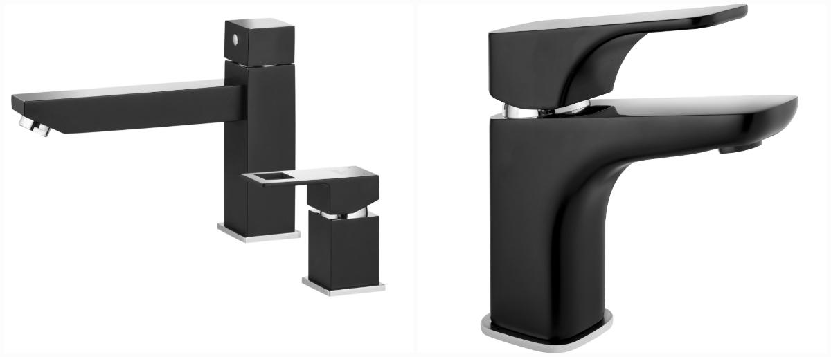 Czarny zestaw natryskowy warto połączyć z bateriami w tej samej kolorystyce. Wśród propozycji Deante mogą to być kolekcje Hiacynt lub Anemon. Fot. Deante