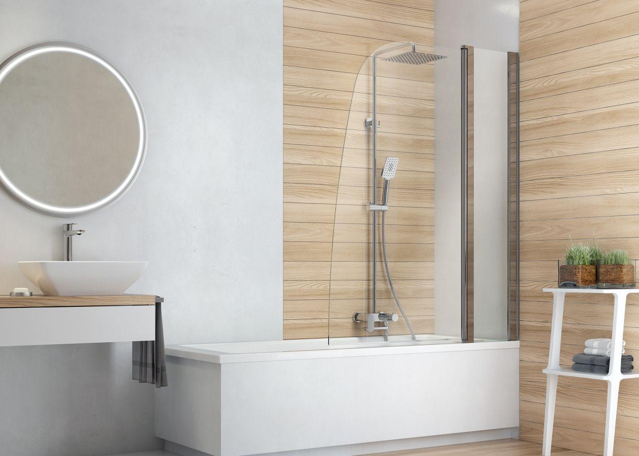 Parawany dostępne są w dwóch szerokościach: 80 i 115 cm, idealnych, aby ochronić łazienkę przed zachlapaniem. Fot. Deante