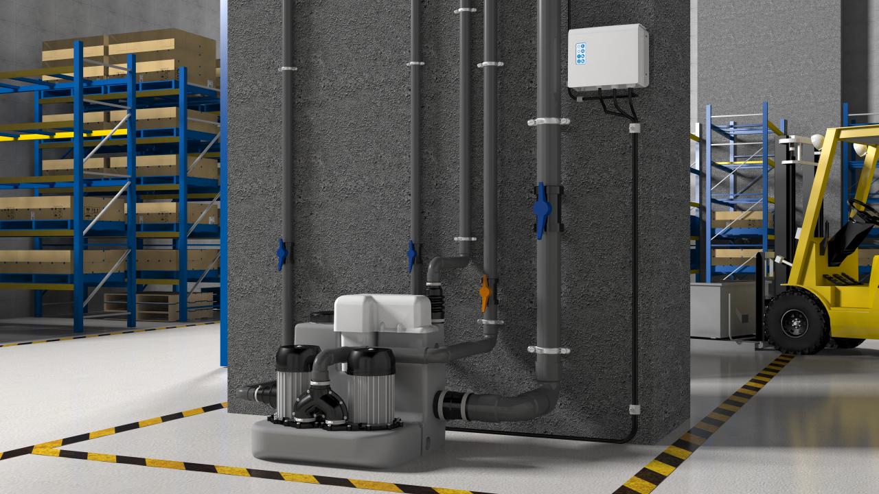 Urządzeniem o większej wydajności jest SANICOM 2 NM. Wyposażona w dwie pompy o mocy 1500 W każda. Tłoczy ścieki na odległość 11 m w pionie lub na 110 m w poziomie. Fot. SFA