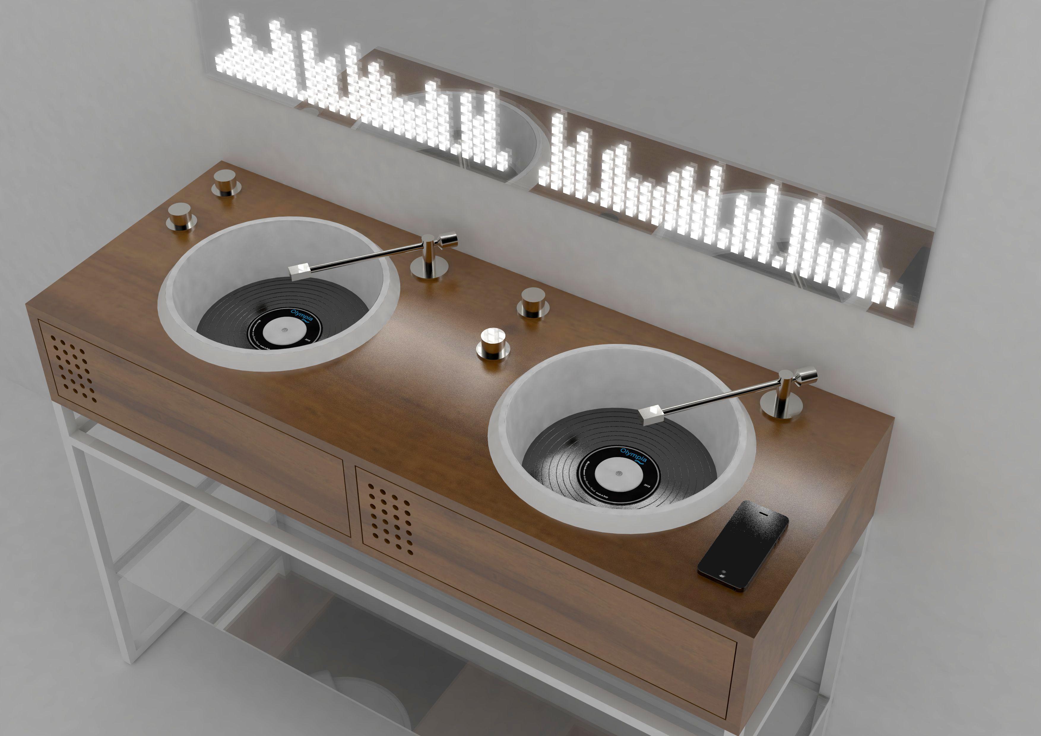 Zaprojektowane przez Gianlucę Paludi produkty imitują do złudzenia prawdziwy sprzęt muzyczny. Fot. Olympia Ceramica
