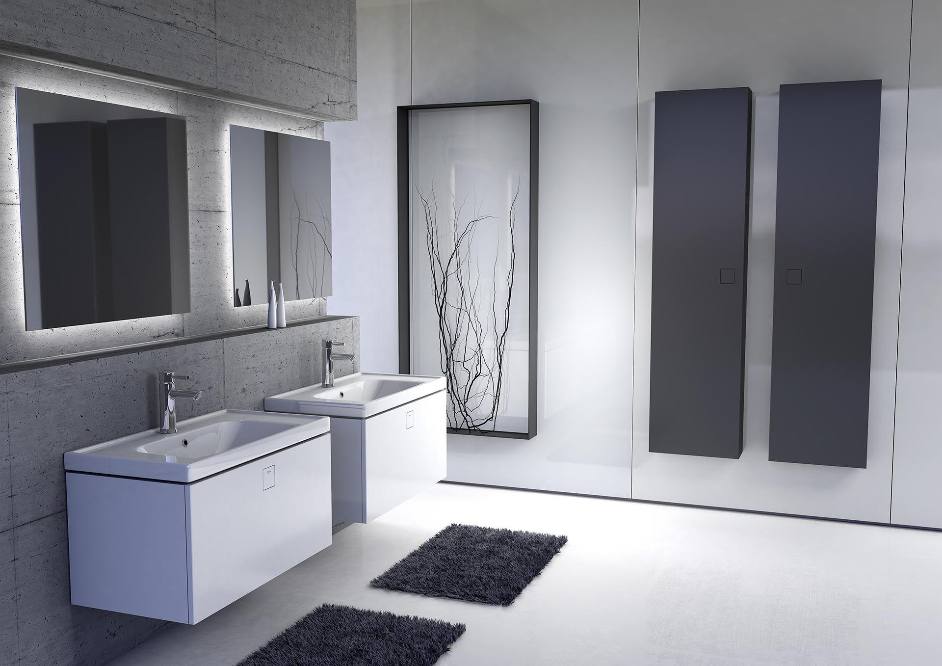Proste, kubiczne bryły mebli wprowadzają ład i harmonię do wnętrza, a ich przestronne szuflady i szafki pozwolą na łatwe utrzymanie porządku w łazience. Fot. Defra