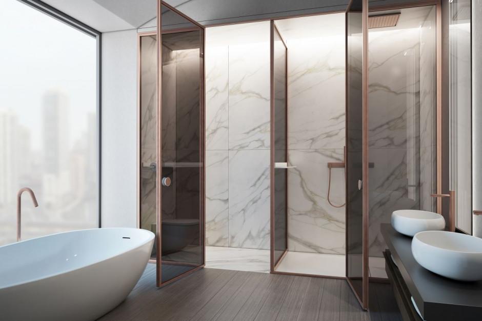 Aluminiowo-szklana ściana prysznicowa Suite od Vismaravetro