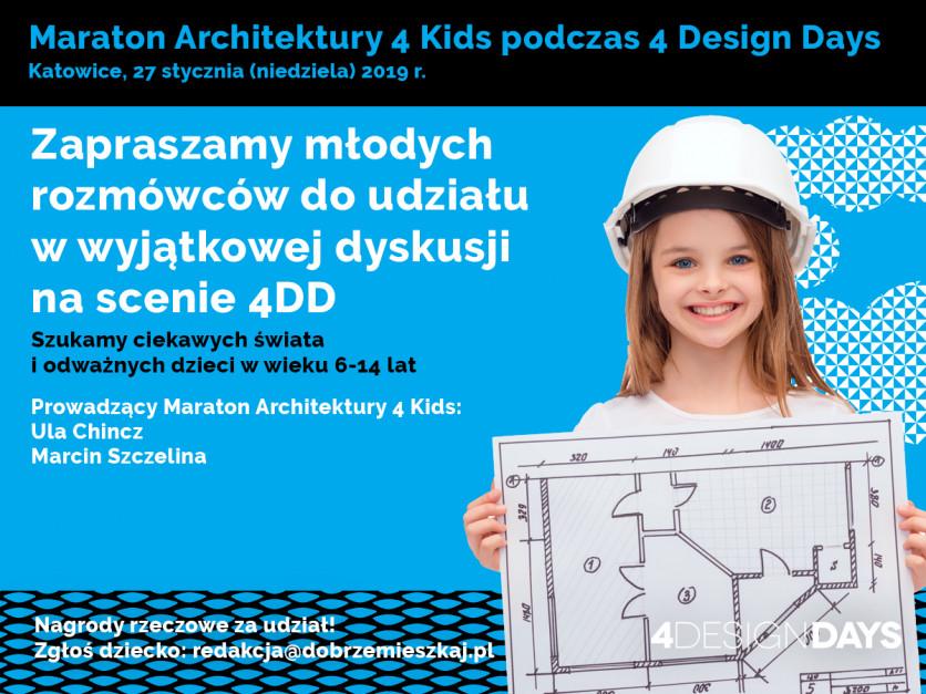 Maraton architektury 4 KIDS: szukamy rozmówców do dziecięcej dyskusji w trakcie 4DD 2019