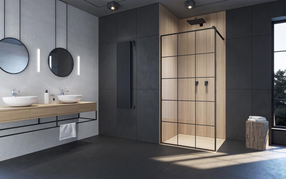 Czerń w strefie prysznica: pomysł na gustowne detale