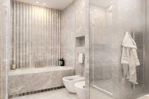 Szara łazienka: elegancki salon kąpielowy w mieszkaniu na Mokotowie