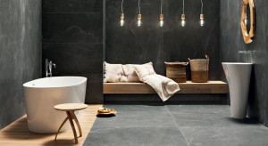 Rysunek kamienia w łazience: wybierz wielki format płytek