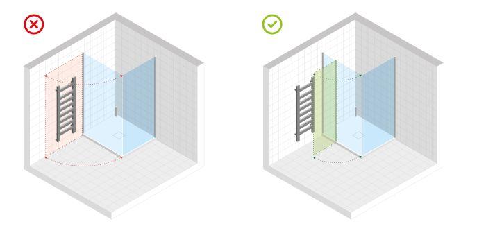 Montaż drzwi wnękowych ze ścianką stałą zapobiegł kolizji z innymi elementami wyposażenia łazienki. Rys. Excellent