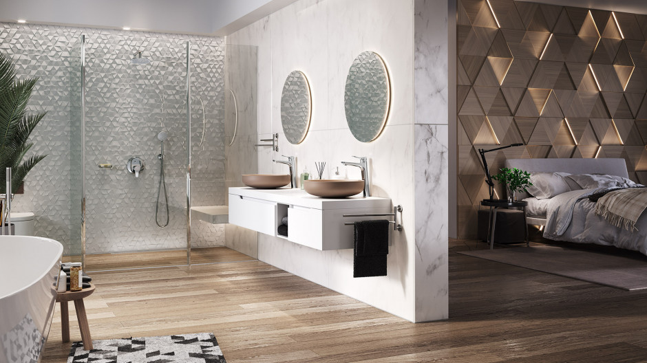 Łazienka z sypialnią: gotowy pomysł na wnętrze