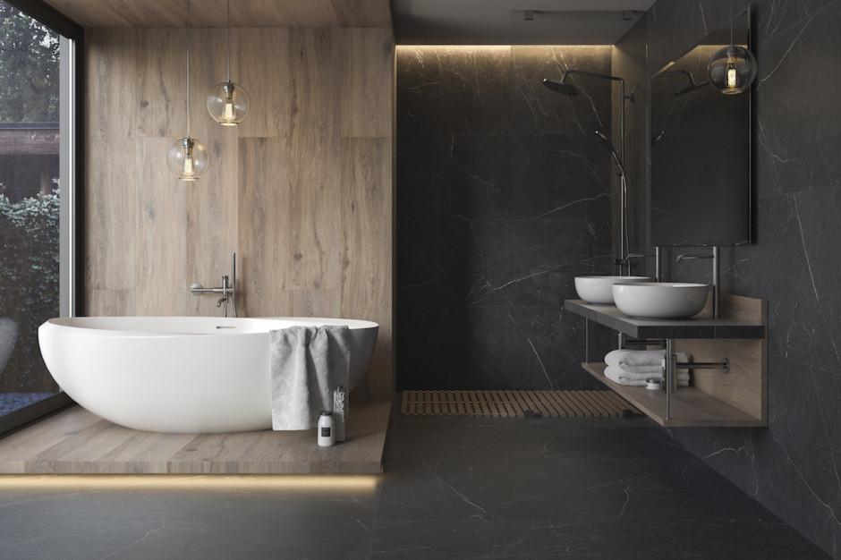 Łazienka w ciemnej tonacji