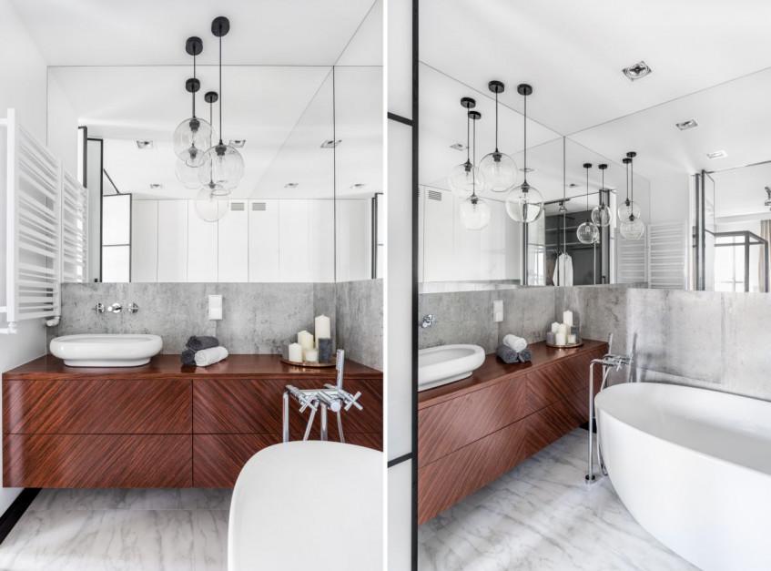 Szara łazienka ocieplona drewnem: 14 zdjęć z polskich domów