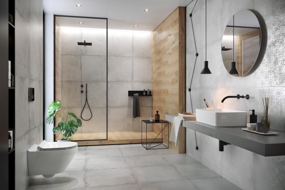 Płytki jak beton - postaw na wyrazisty akcent w łazience