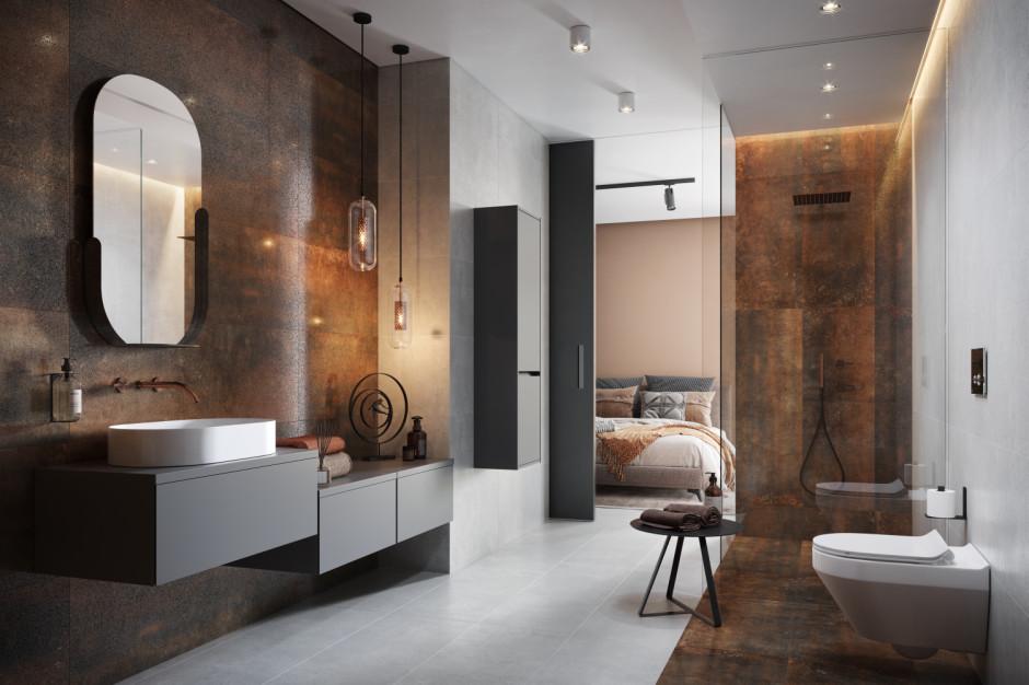 Miedź i rdzawa blacha - modne kolory w łazience