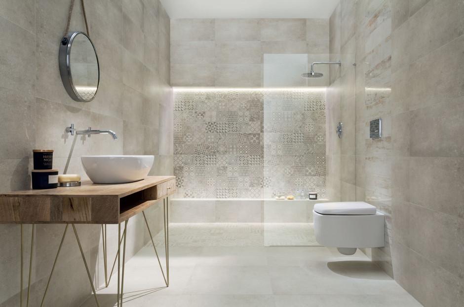 Szara łazienka: piękne kolekcje płytek ceramicznych