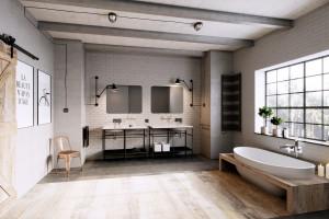 Industrialna armatura w aranżacji łazienek